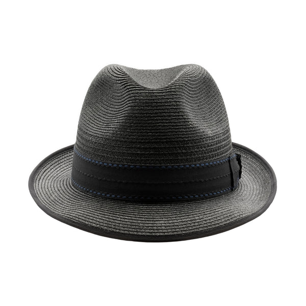 Front view of black Akubra Long Island trilby style hat