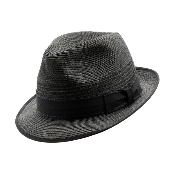 Angle view of black Akubra Long Island trilby style hat