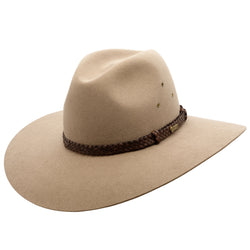 angle view of the Akubra Riverina Hat in Bran colour