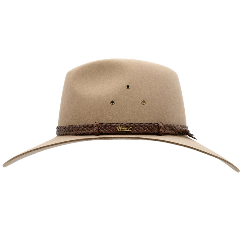 side view of the Akubra Riverina Hat in Bran colour
