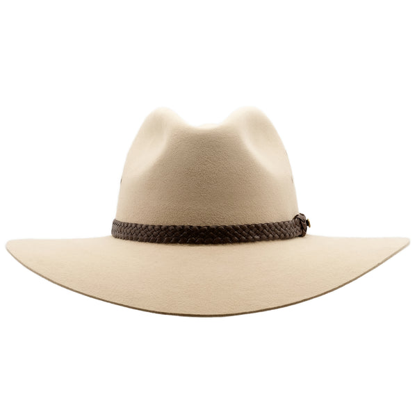 Front view of Akubra Riverina hat in Sand colour