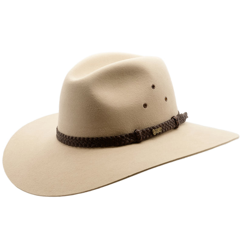 Angle view of Akubra Riverina hat in Sand colour