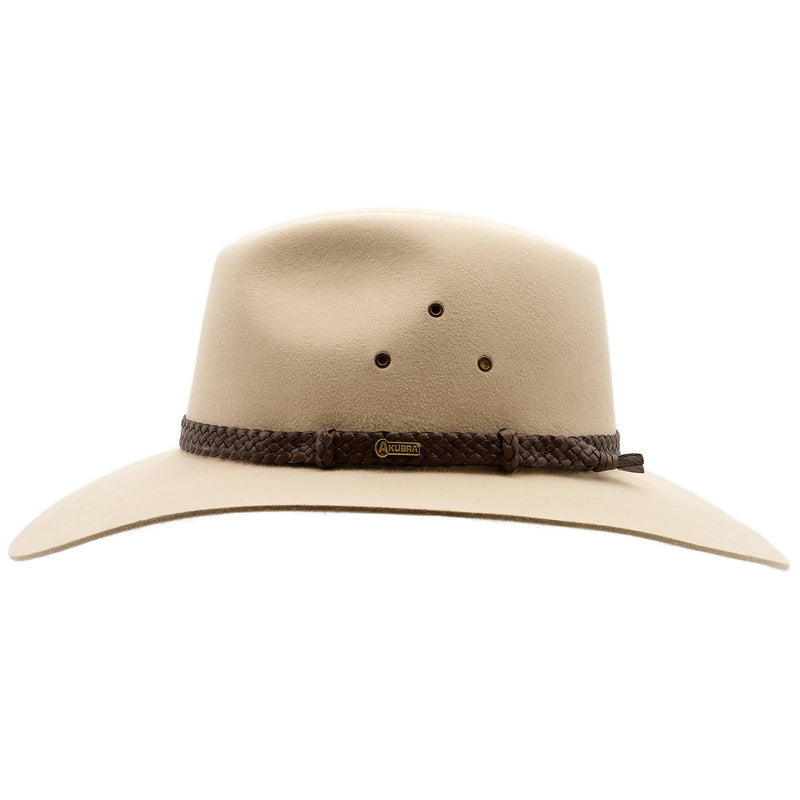 Side view of Akubra Riverina hat in Sand colour