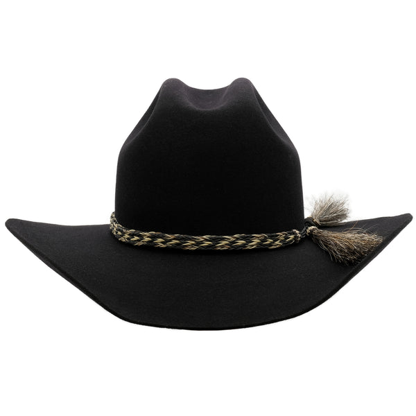 front view of black Akubra Rough rider hat
