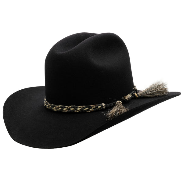 angle view of black Akubra Rough rider hat