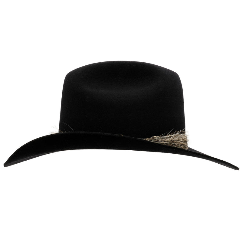 Side view of black Akubra Rough rider hat