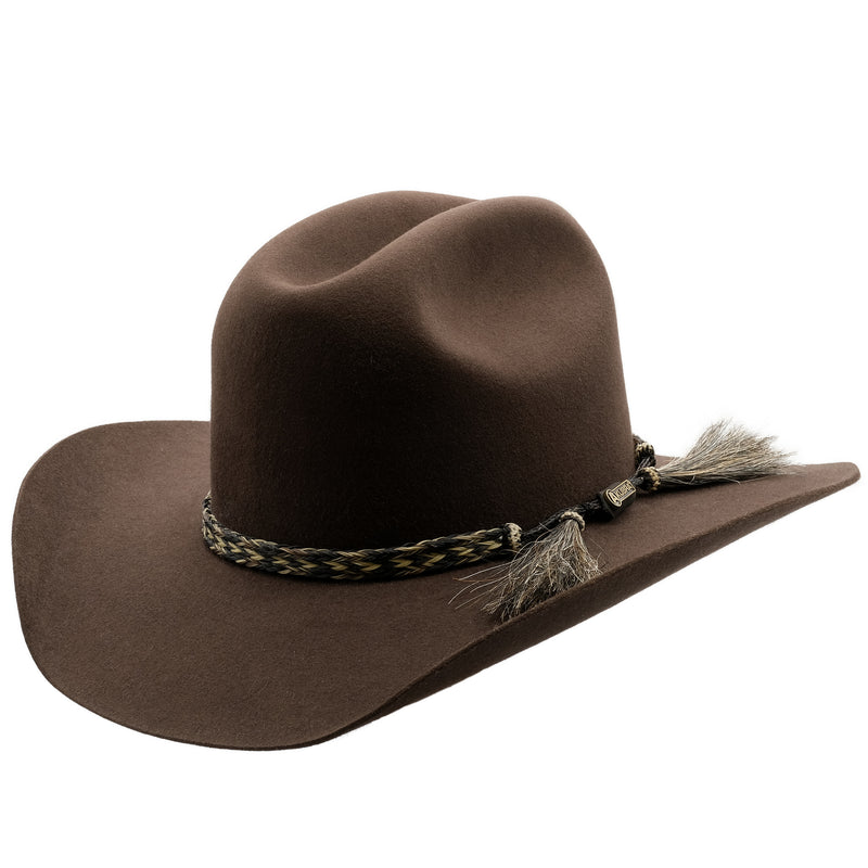 Angle view of Akubra Rough Rider in Loden colour