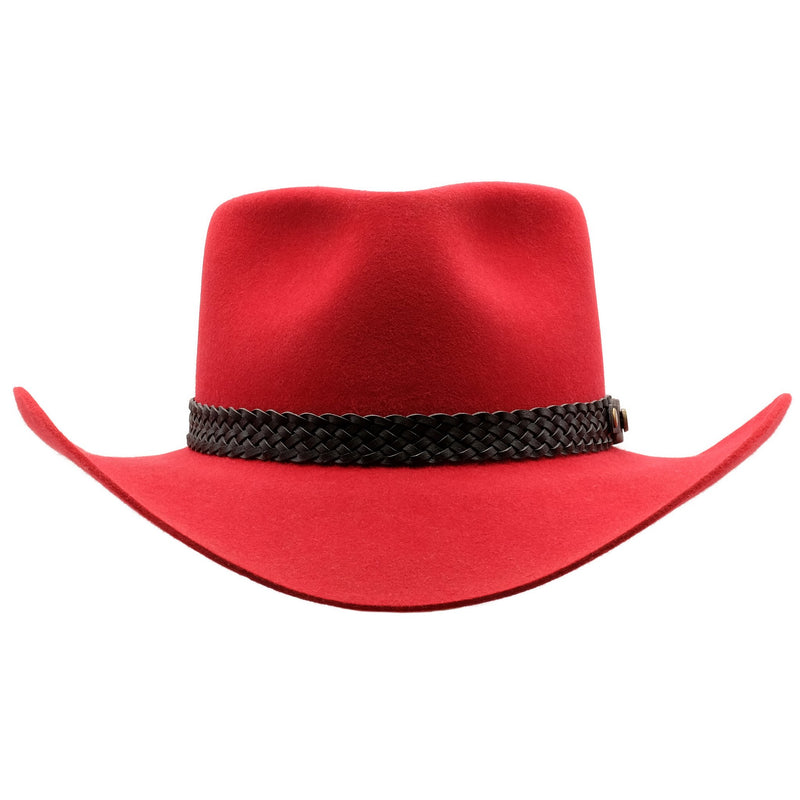 Front view of Akubra Snowy River in Rodeo Red colour