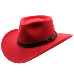 Angle view of Akubra Snowy River hat in Rodeo Red colour