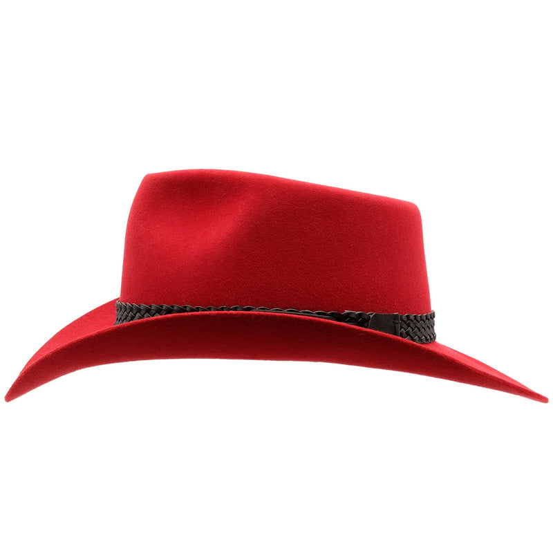 Side view of Akubra Snowy river hat in Rodeo Red colour