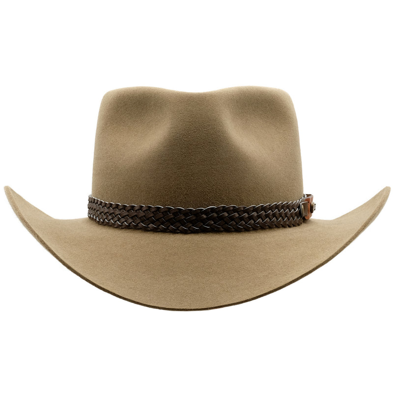 Front view of Akubra Snowy River hat in Santone colour