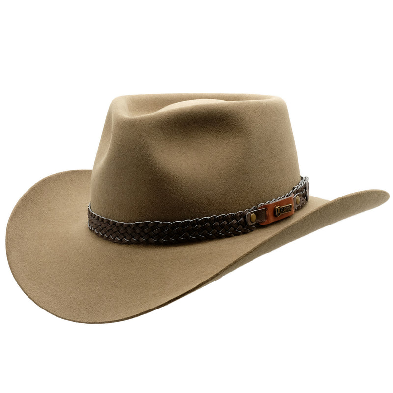 Angle view of Akubra Snowy River hat in Santone colour