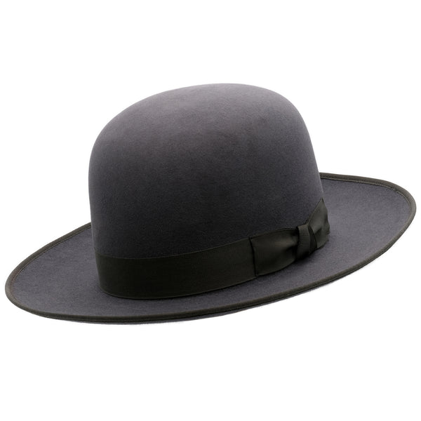 Angle view of Akubra Squatter hat in Carbon grey colour, shown with open crown