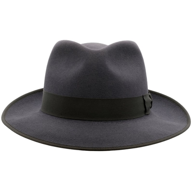 Front view of Akubra Stylemaster hat in Carbon Grey colour