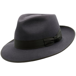 angle view of Akubra Stylemaster hat in Carbon Grey colour