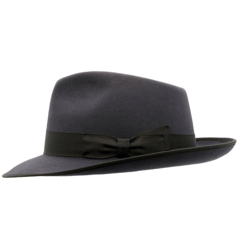 side view of Akubra Stylemaster hat in Carbon Grey colour