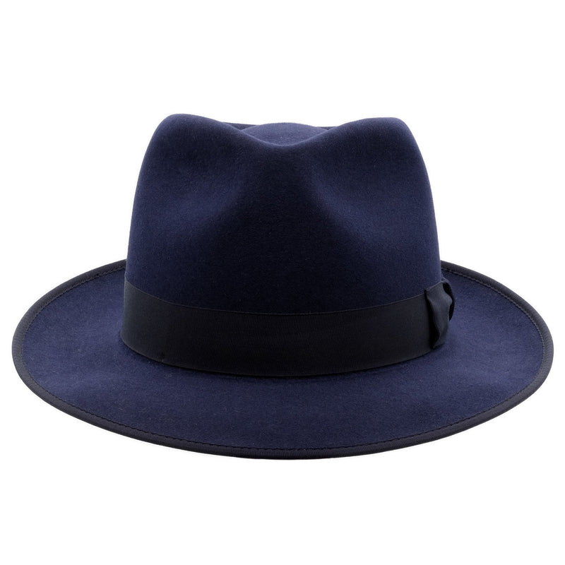 Front view of akubra Stylemaster hat in Federation Navy colour