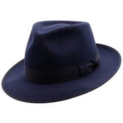 angle view of akubra Stylemaster hat in Federation Navy colour