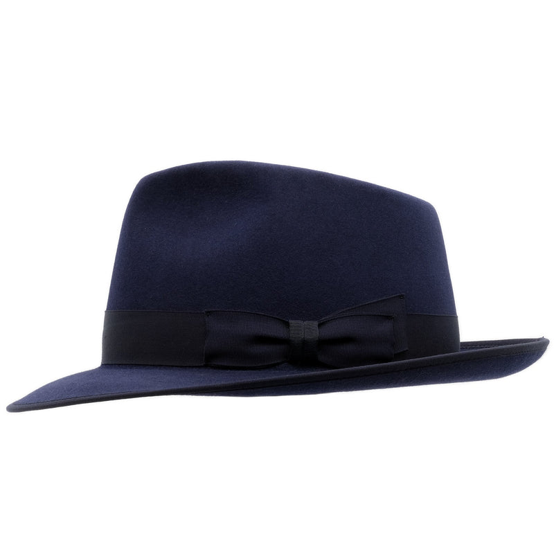 Side view of akubra Stylemaster hat in Federation Navy colour