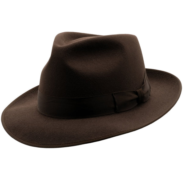 Angle view of Akubra Stylemaster hat in Loden colour