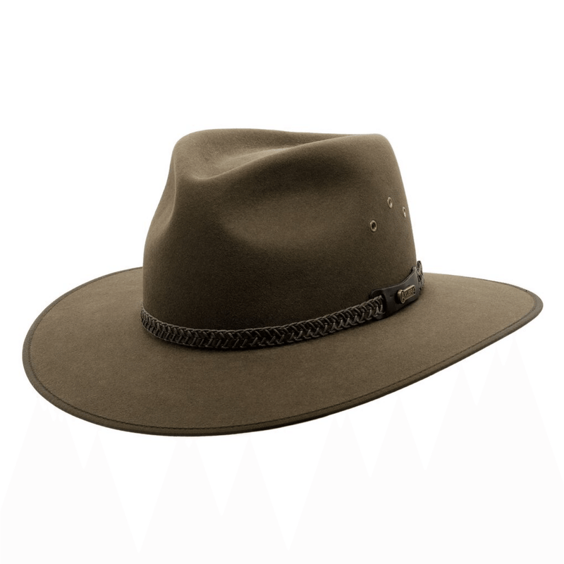 Angle view of Akubra Tablelands hat in Brown Olive colour