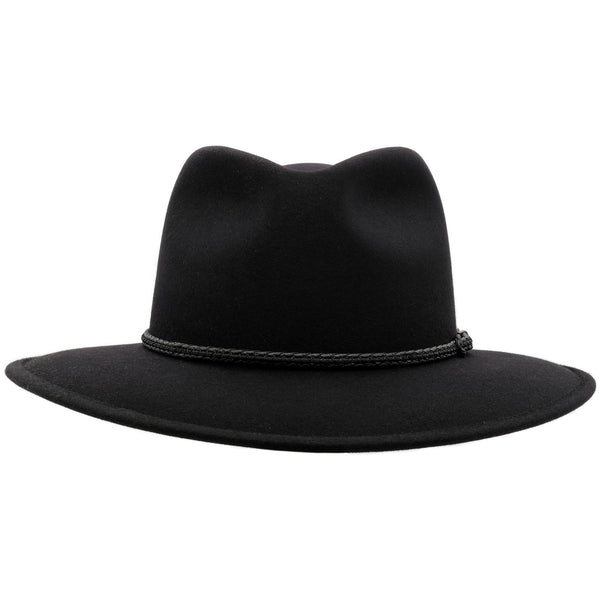 Front view of Akubra Traveller hat in black