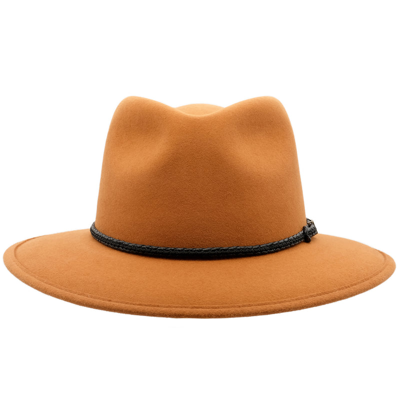Front view of the rust coloured Akubra Traveller hat