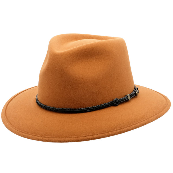 Angle View of the Akubra Traveller in Rust colour