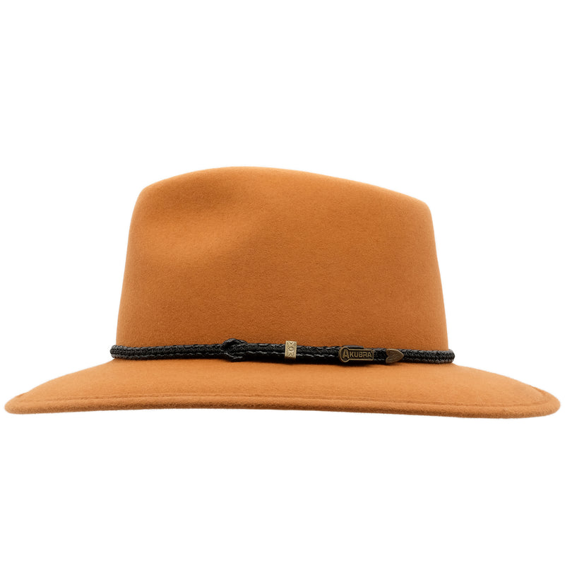Side view of the rust coloured Akubra Traveller hat