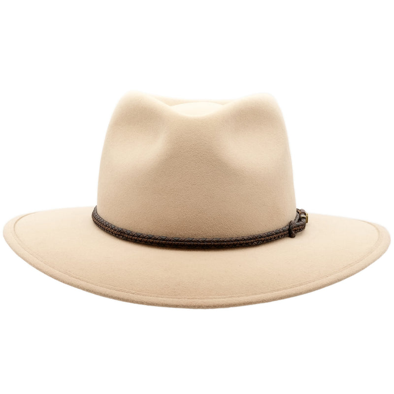 front view of sand coloured Akubra traveller style hat