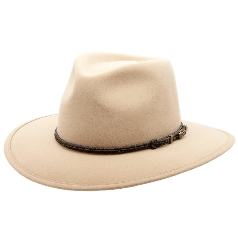 Angle view of sand coloured Akubra traveller style hat