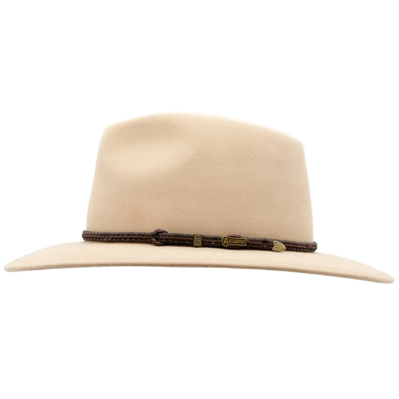 side view of sand coloured Akubra traveller style hat