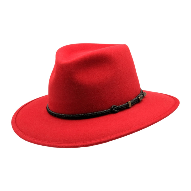 Angle view of Akubra Traveller hat in Rodeo red