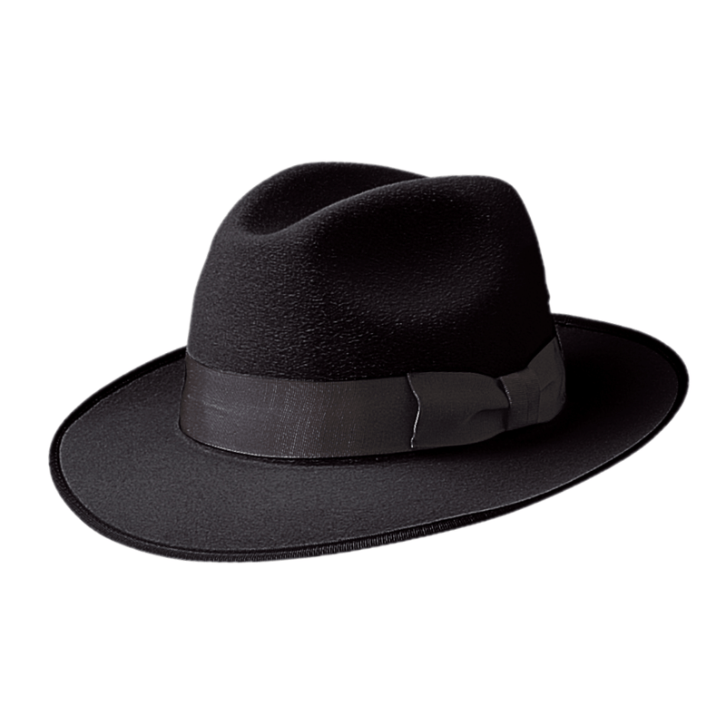 Angle view of Akubra Bogart hat in Black