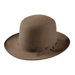 Angle view of Akubra Campdraft hat in Taupe colour, shown with open crown