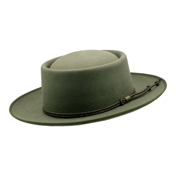 Angle view of Akubra Pastoralist hat in Bluegrass Green