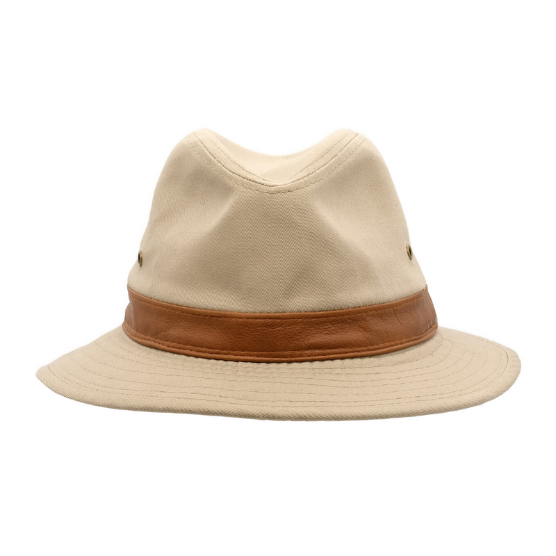 Front view of Avenel Washed Cotton Safari hat in Khaki SMC918