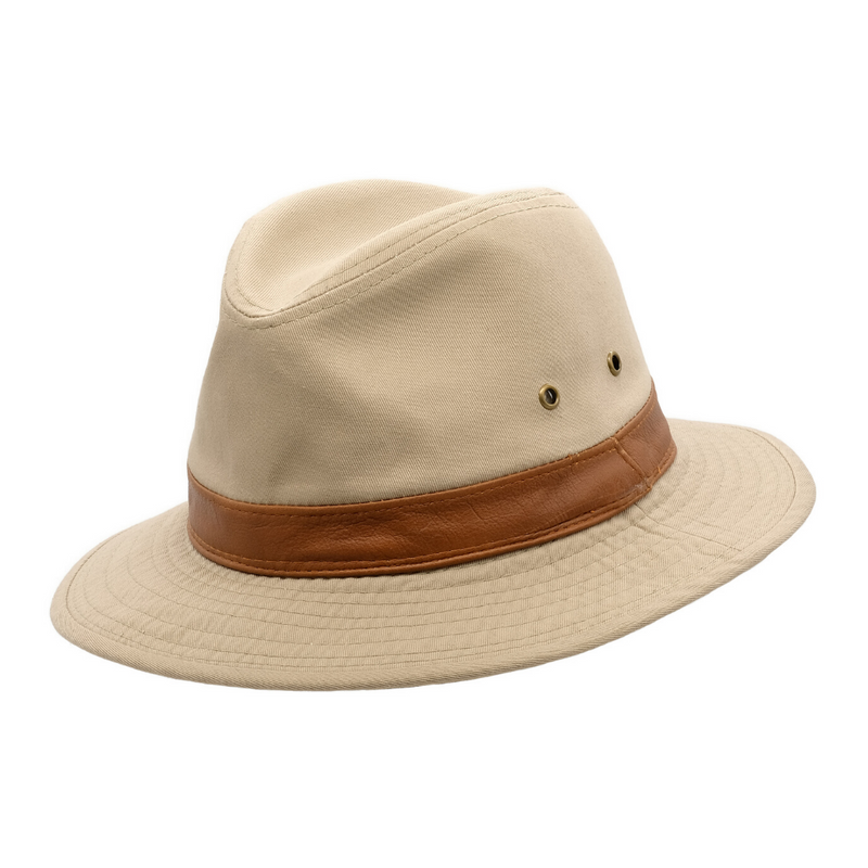 Angle view of Avenel Washed Cotton Safari hat in Khaki SMC918