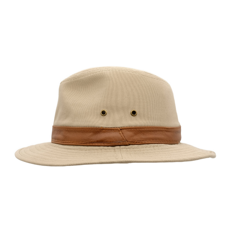 Side view of Avenel Washed Cotton Safari hat in Khaki SMC918
