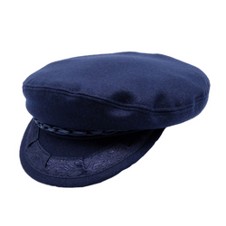 angle view of Avenel Wool Greek Fishermans Cap in Navy