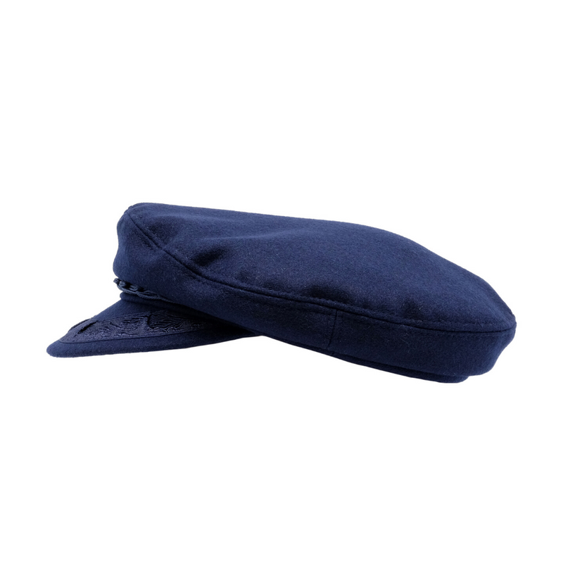 Side view of Avenel Wool Greek Fishermans Cap in Navy