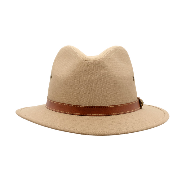 Strand Hatters, front view of Avenel Blocked Canvas Safari hat- Khaki