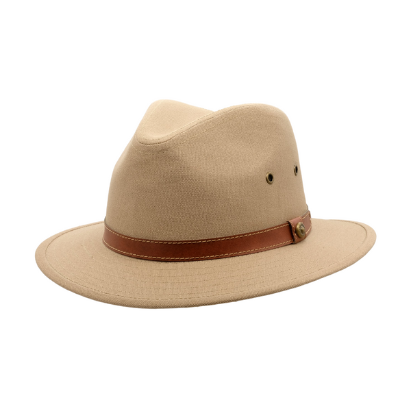 Strand Hatters, angle view of Avenel Blocked Canvas Safari hat- Khaki