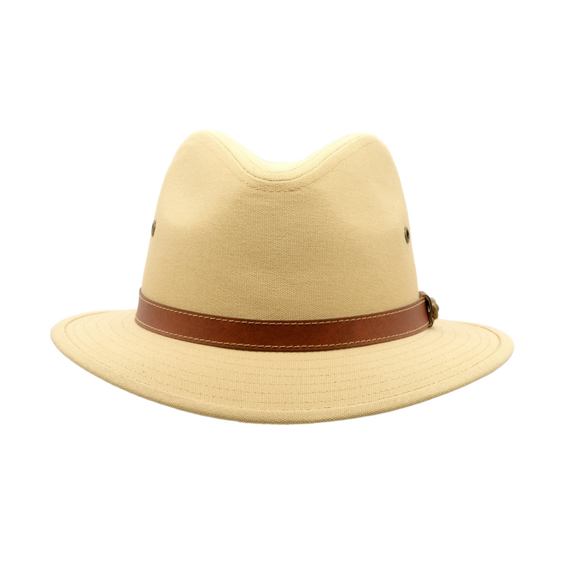 Strand Hatters, front view of Avenel Blocked Canvas Safari hat- Natural