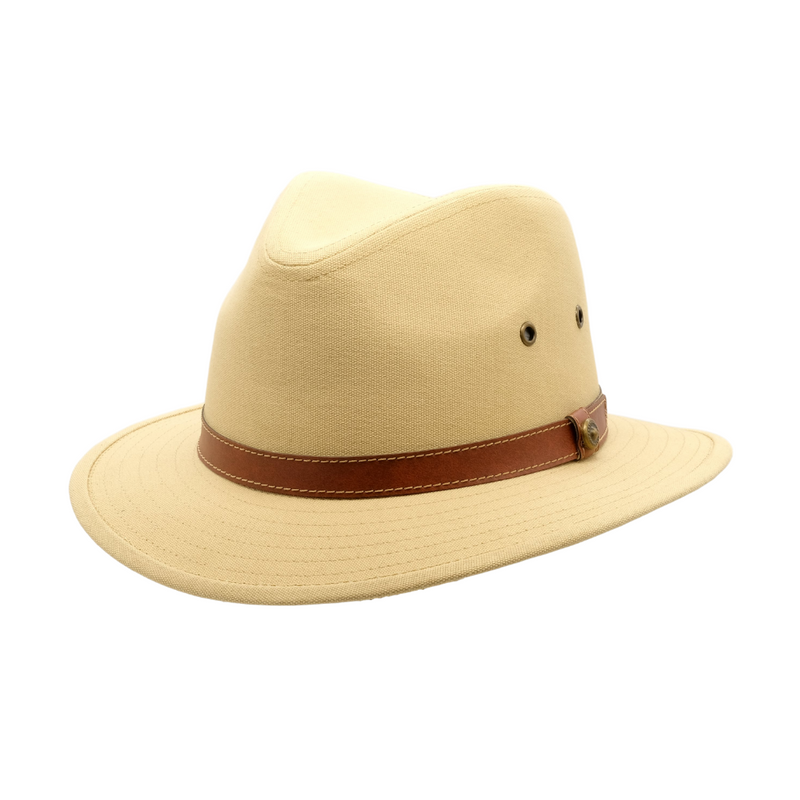 Strand Hatters, angle view of Avenel Blocked Canvas Safari hat- Natural