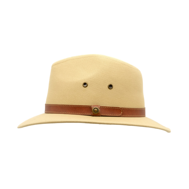 Strand Hatters, side view of Avenel Blocked Canvas Safari hat- Natural