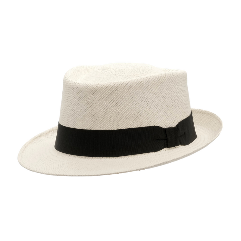 Strand Hatters, angle view of Avenel Classic Cuba Brisa Panama - Bleach