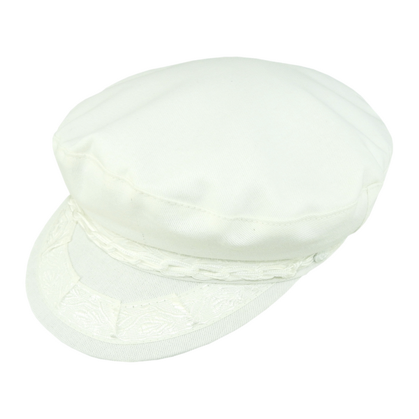 Angle view of Avenel Cotton Greek Fisherman Cap in White