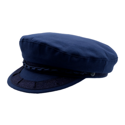 angle view of Avenel Cotton Greek Fisherman Cap in Navy
