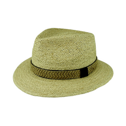 Strand Hatters, Raffia Fedora with Hessian Overlay Trim